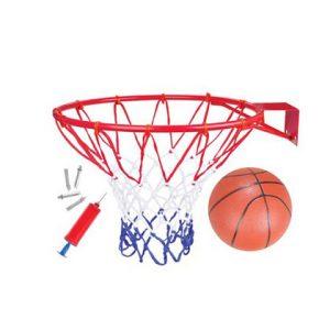 """חבילת סל איכותית – חישוק כדורסל בקוטר 42 ס""""מ + רשת משחק + כדור"""